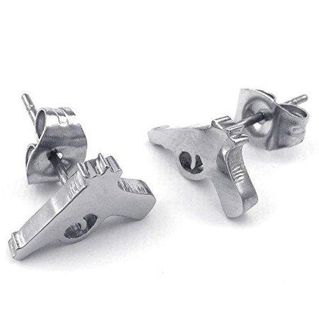 Men Stainless Steel Handgun Gun Pistol Punk Rock Stud Earrings, Silver - InnovatoDesign