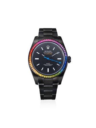 Black MAD Paris customised Rolex Milgauss Rainbow 35mm - Farfetch