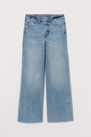 Wide High Ankle Jeans - Blue
