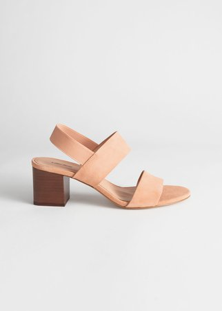 Block Heel Leather Sandals