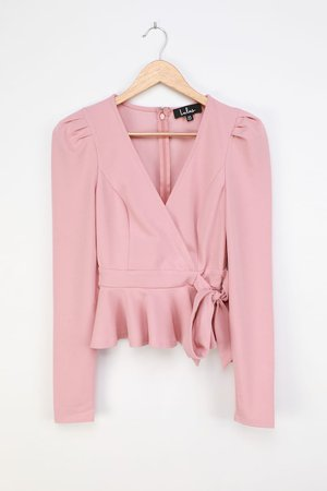 Mauve Pink Top - Faux Wrap Top - Puff Shoulder Top - Lulus