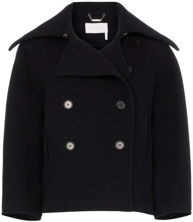 double-breasted cropped wool peacoat
