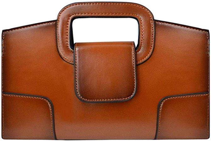 Amazon.com: ZLMBAGUS Women Vintage Flap Tote Top Handle Satchel Handbags PU Leather Clutch Purse Casual Messenger Chain Shoulder Crossbody Bag Brown: Shoes