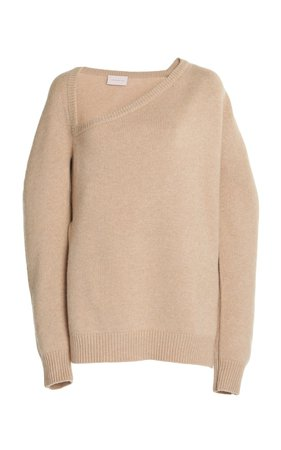 Open Neck Wool and Cashmere Sweater