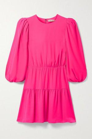 Alice Olivia - Shayla Tiered Crepe Mini Dress - Bright pink