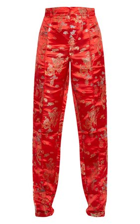 Red Jacquard Floral Straight Leg Trouser | PrettyLittleThing USA