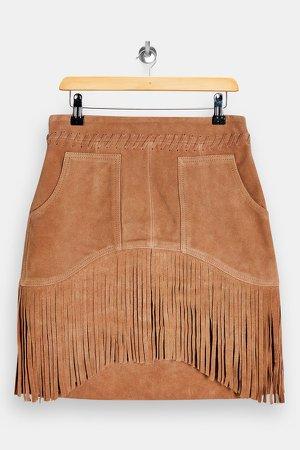 Tan Suede Fringing Tassel Mini Skirt