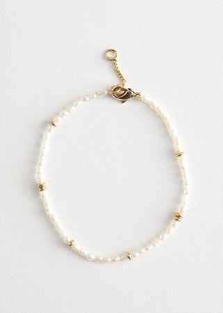 Beaded Pearl Bracelet - Pearl, Gold - Bracelets - & Other Stories