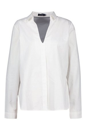Cotton V Neck Tailored Collared Blouse | Boohoo