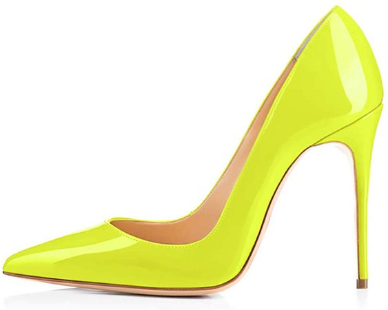 Amazon.com   GENSHUO High Heel, 10cm/3.94 Inch Stiletto High Heel Shoes for Women Pointed Toe Party Evening Dress Pumps Prom 10cm FY 11 Fluorescent Yellow   Pumps