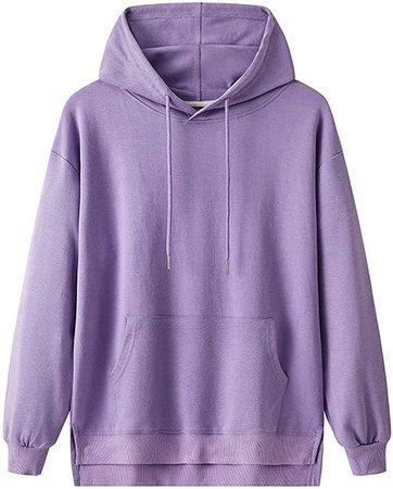 Oversized Hoodie Sweatshirt Women Purple Hooded Long Sleeve Hoodies Pullover Autumn Tops at Amazon Women's Clothing store
