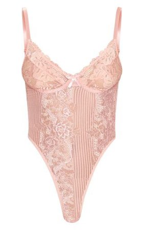 PLT pink blush mesh bodysuit top