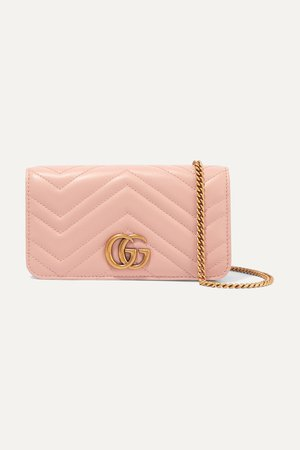 Baby pink GG Marmont mini quilted leather shoulder bag   Gucci   NET-A-PORTER