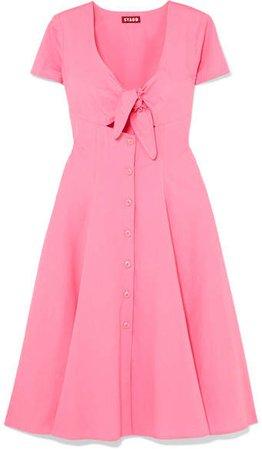 STAUD - Alice Tie-front Cotton-blend Poplin Dress - Pink