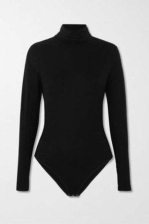 Net Sustain Stretch-tencel Turtleneck Bodysuit - Black