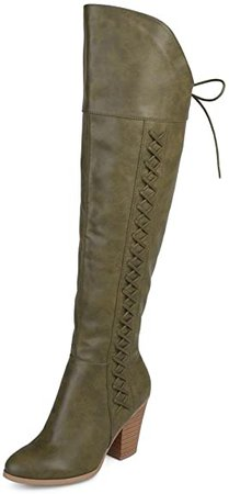 Amazon.com | Brinley Co. Regular and Wide Calf Faux Leather Faux Lace-up Over-The-Knee Boots Brown, 9 | Over-the-Knee