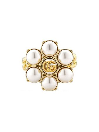 Shop Gucci pearl Double G ring with Express Delivery - FARFETCH