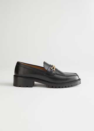 Rope Chain Leather Loafers - Black - Loafers - & Other Stories