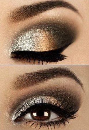 Black, Gold and Bronze Smokey Eye Shadow