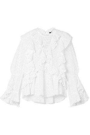 Isabel Marant - Zim Ruffled Broderie Anglaise Cotton Blouse - White