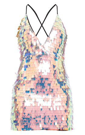 Nude Strappy Plunge Sequin Bodycon Dress | PrettyLittleThing USA