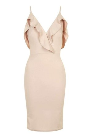 Nude Party Dress With Ruffles