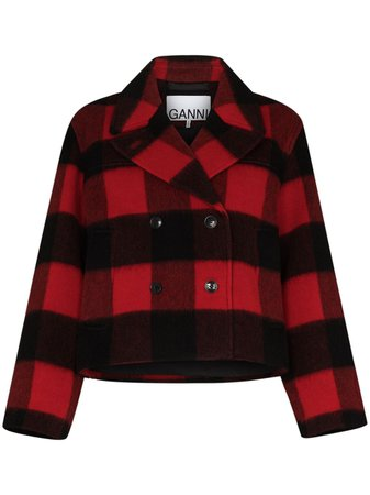 GANNI check-pattern double-breasted Jacket - Farfetch