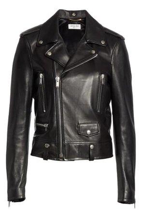 Saint Laurent Leather Moto Jacket | Nordstrom