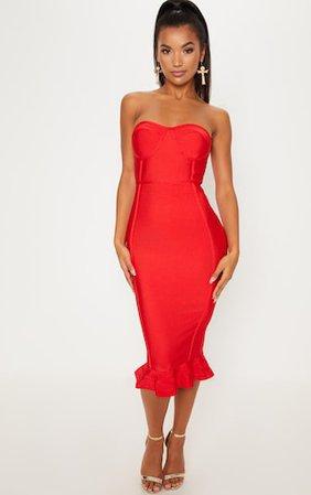 Red Frill Hem Bandage Midi Dress   Dresses   PrettyLittleThing