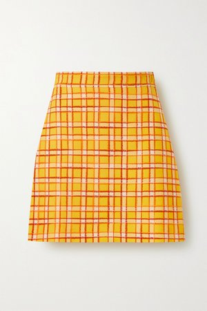 Yellow Checked wool-tweed mini skirt | Gucci | NET-A-PORTER