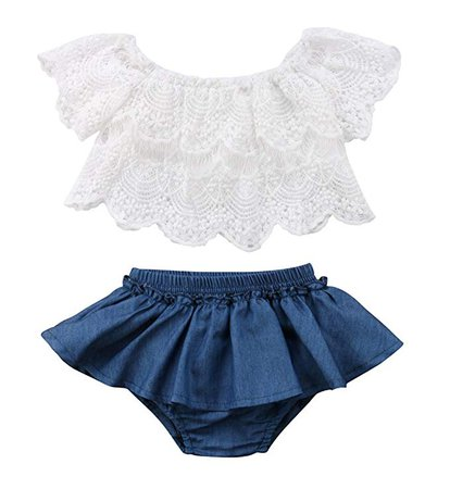 Amazon.com: Qiylii 2PCS Baby Girl Lace T-Shirts Tops+Shorts Pants Tutu Skirt Kid Summer Clothes (18-24 Months): Clothing