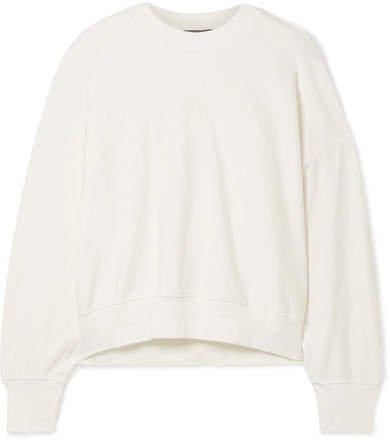 Button-detailed Canvas-trimmed Organic Cotton-fleece Sweatshirt - Ivory