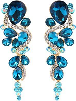 BriLove Wedding Bridal Dangle Earrings for Women Bohemian Boho Crystal Multiple Teardrop Chandelier Long Earrings Gold-Toned Blue Topaz Color