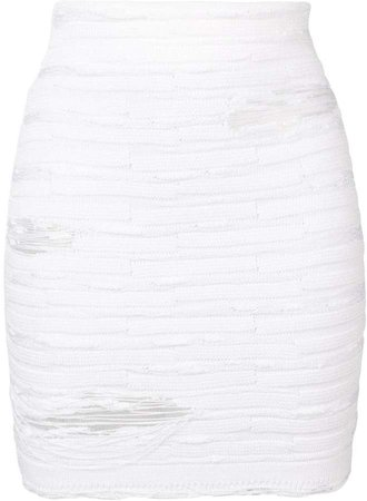 distressed knit skirt