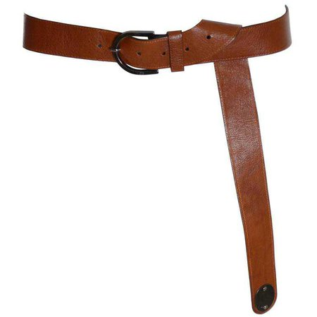 1980s Krizia Vintage Brown Leather Extra Long Belt Size Medium to Large For Sale at 1stdibs