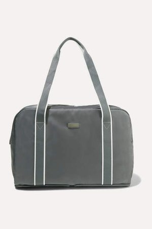 Fold-up Leather And Grosgrain-trimmed Shell Weekend Bag - Anthracite