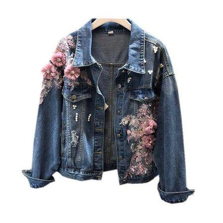 flower jean jacket