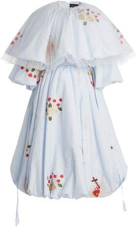 Simone Rocha Embroidered Cotton Midi Dress