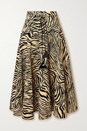Pleated Zebra-print Crepe Midi Skirt - Black