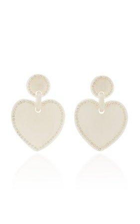 Crystal-Embellished Acetate Heart-Shaped Earrings By Lele Sadoughi | Moda Operandi