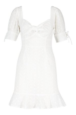 Knot Front Broderie Anglais Mini Dress | boohoo
