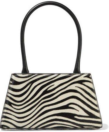 Dora Leather-trimmed Zebra-print Calf Hair Tote - Black