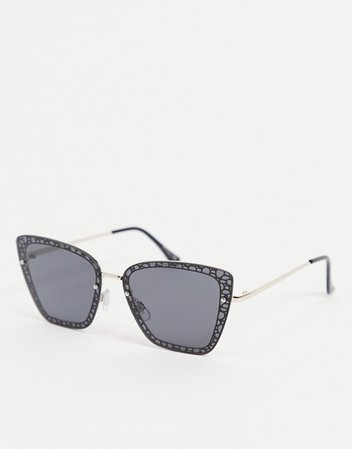 Jeepers Peepers cat eye sunglasses in black with lens rim design   ASOS