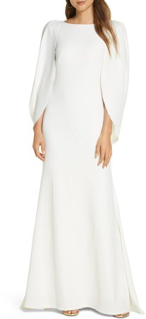 Cape Long Sleeve Crepe Gown