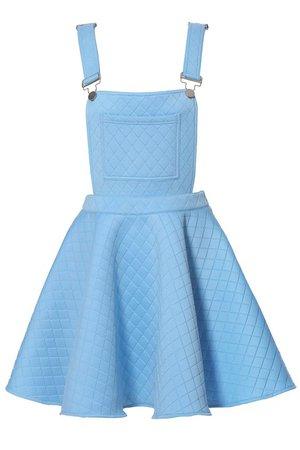 blue suspenders skirt