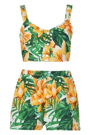 Petite Floral Tropical Top & Flippy Short Co-Ord | Boohoo