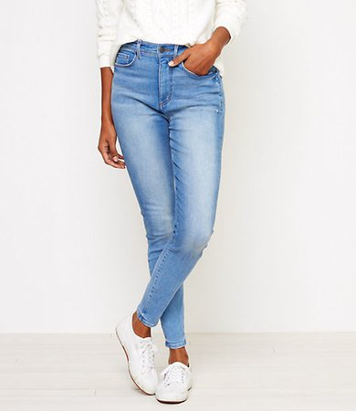 High Rise Denim Leggings in Caribbean Blue