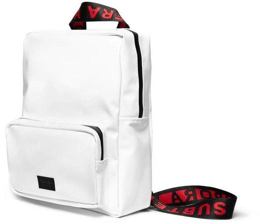 FURORA SUBTERA - White Vinyl Backpack With Red Furora Straps