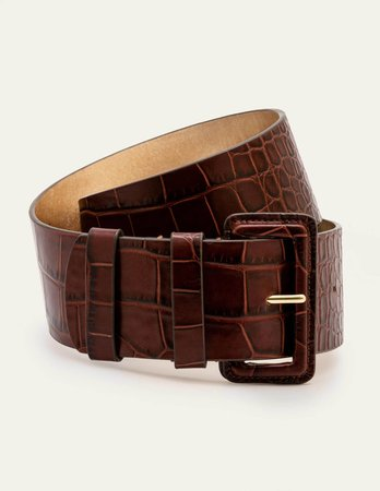 Wide Leather Belt - Mahogany Croc | Boden US