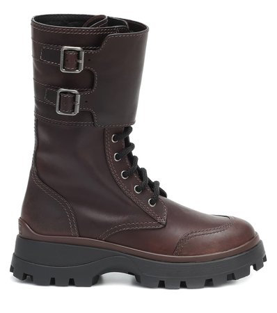 Leather Boots | Miu Miu - Mytheresa